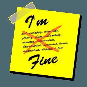 I'm fine post-it note