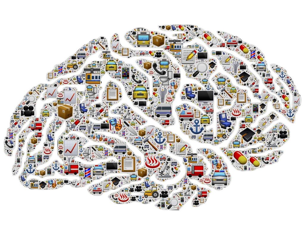 illustration of a brain with dozens of different icons all over