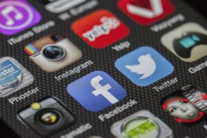 Photograph of social media icons from a phone