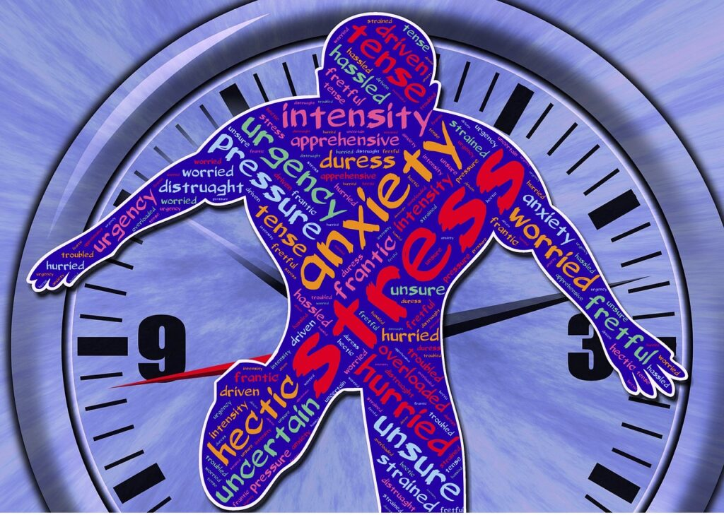 Illustration of an outline of a man over a clock with words of anxiety and stress pasted all over the body