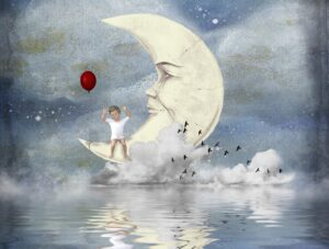 Illustration of a young child holding a red balloon and sitting on a half moon above water