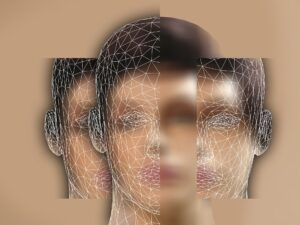 Abstract illustration of a young man's face split into three parts