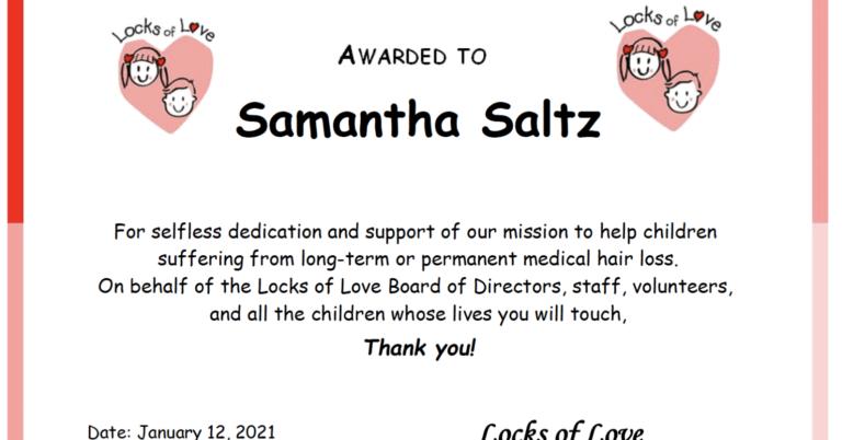 Dr. Sam's Locks of Love Certificate