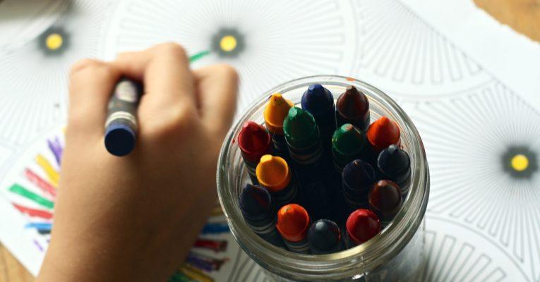 Child using crayons